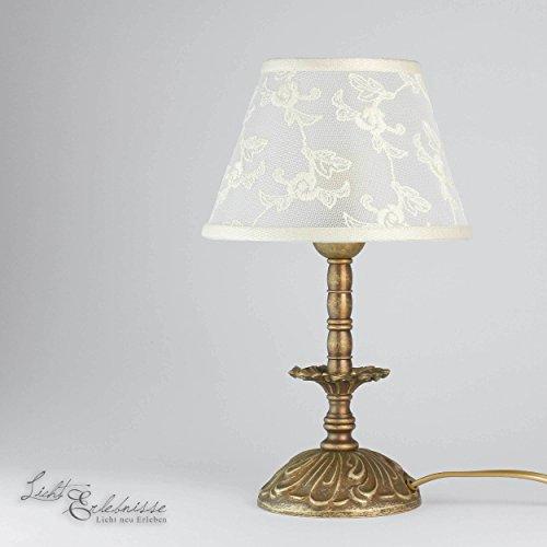 Premium Tischleuchte Antik Messing Jugendstil E14 bis 60W 230V Stoff bestickt Nachttischleuchte Schlafzimmer Wohnzimmer Lampe Leuchte Beleuchtung innen Tischlampe