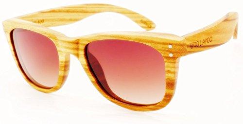 Preisvergleich Produktbild WOO LANDO - Nail Johnson Zebra - Unisex Edelholz-Sonnenbrille aus tropischem Zebraholz, braune Verlaufstönung & polarisiert