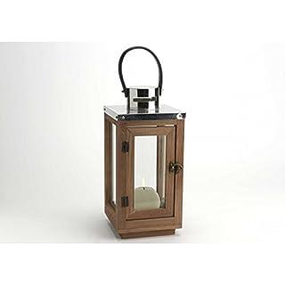 Adept Home 131676 Lantern with Handle, Metal/Wood/Glass/PU, Multicoloured, 16 x 34.7 x 16 cm
