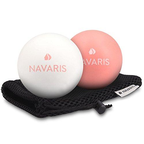 Navaris Massageball 2er Set Faszien Massage - Selbstmassage Faszienball Lacrosse Ball Trigger Point - Fuß Roller Triggerpunkte