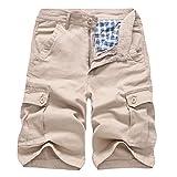 TEBAISE Herren Sommer Bermuda Shorts Kurze Outdoor Taschen Strand Arbeit Hosen Cargo Pant mit Reißverschluss Taschen Gesäßtaschen Seitentaschen (Khika,36)