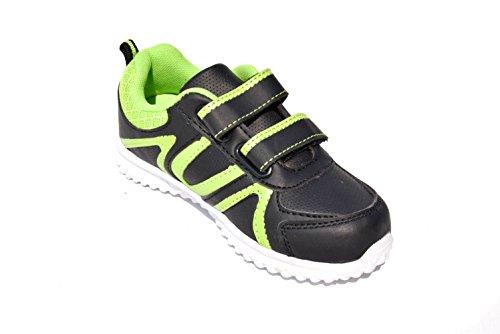 TMY TM373 stylische Kinder Sneaker in Schwarz-Grün GR.: 25-36 Schwarz/ Grün