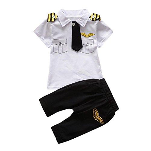 Manadlian Neugeborenes Säugling Baby Jungen Mädchen Gentleman Krawatte KurzÄrmel Umlegekragen Oberteile + Junge ModeFreizeit Hemd Hose 2 Stück Outfits (12M, Weiß) (Gentleman-freizeit-set)