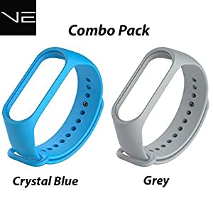 VEROX Mi Band 3/4 Straps Blue and Grey Color Combo Wristband Strap (Blue + Grey)