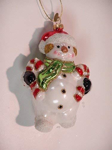 Glasfigur bonhomme de neige candy cane h : 15 cm