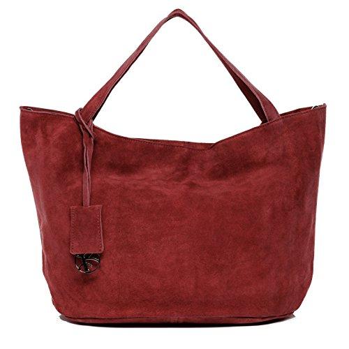 BACCINI® Borsa a mano vera pelle SELMA grande borsettamanico borsa a spalla donna cuoio rosso