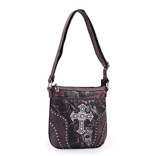 Emperia Damen Grace Mossy Oak Kreuz Messenger Bag, damen, Camouflage/Dark Brown Trim (Trim Messenger)