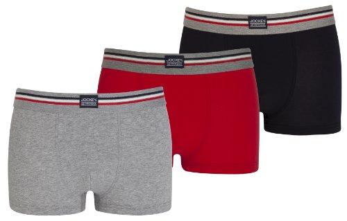 Jockey® Herren, Cotton Stretch Short Trunk 3er-Pack, 17302913, grau, rot, marine, Größe L