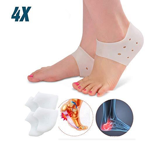 BellFan 4X Ferse Socken, BPA Free Gel Fersenschutz Silikon Pads, fersenpolster für Fersensporn, chronische Plantarfasziitis und Haut Bruch