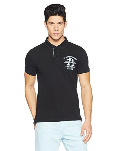 Symbol Men's Badged Cotton Polo T-Shirt (AW17PLK64_XXL_Jet Black)