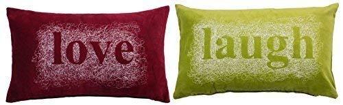 2x bestickt Spirale Love Laugh rot grün Samt Boudoir Kissenbezug 28x 48cm (Gestickt Boudoir)