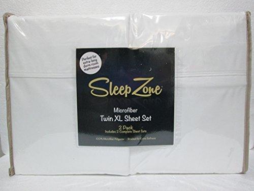 (2)-Pack Sleep Zone Microfiber Twin XL Sheet Set - White by Sleep Zone
