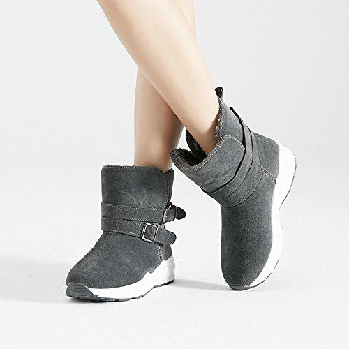 Scarpe donna, Snow Boots, Europa e gli Stati Uniti a breve spesso cestelli caldo antiscivolo di grandi dimensioni scarpe di cotone gray