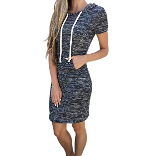 Kleid Damen Elegant Kurzarm Kleid Retro Rock Damen Lange T-Shirt Hoody Minikleid Streetwear Btruely (XL, Grau) (Hoody Zurück Print)