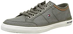 Tommy Hilfiger Men's Core Material Mix Low-top Sneakers, Green (Dusty Olive 011), 10 Uk