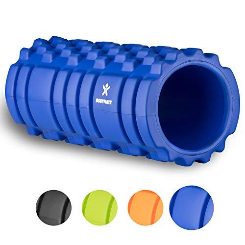 BODYMATE Faszienrolle Premium BLAU inklusive E-Book zur Triggerpunkt-Selbstmassage - Massage-Rolle für myofasziales Training - Gymnastik-Rolle für Verklebungen Muskelbeschwerden - Fitness-Rolle