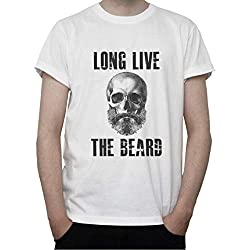 DreamGirl Long Live The Beard. Skull Graphic Mens T-Shirt XX-Large