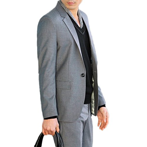 Herren Business Anzug 1-Knopf-Anzugjacke mit Anzughose Dunkel Grau