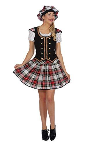 narrenkiste W4131-36 weiß-rot-schwarz-kariert Damen Schotten Kostüm Schottin mit Mütze Gr.36