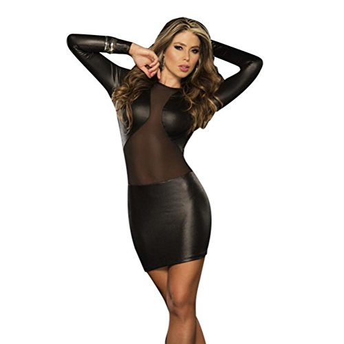 europe-and-the-united-states-patent-leather-leather-perspective-sexy-dress-with-long-sleeves