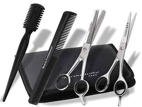Friseurscheren-Set im Etui 5 Teilig   Effilierer Solingen  Haar-Kamm   Haarschere   Effilierschere 15cm