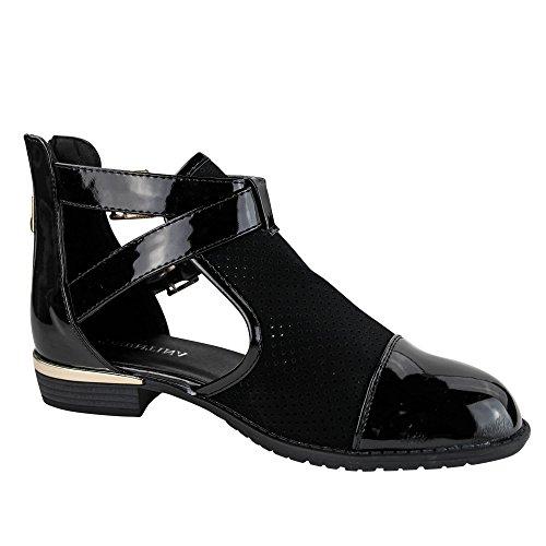 separation shoes 049c6 c9b75 Damen Stiefeletten Spitze Boots Chelsea Ankle Boots ST868 Schwarz