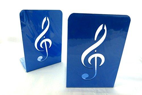 Musik Themen Buchstütze - Ein Paar feste blaue Violinschlüssel Design Metall-Buch-Stand (2 Stück)