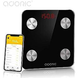 Báscula Grasa Corporal Báscula de Baño Bluetooth Analizar Más de 8 Funciones, Monitores de Composición Corporal Andriod Arriba 5.0y iOS (Negro)