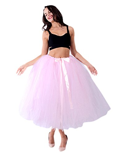 Honeystore Damen's Tüllrock Maxirock Lang Tüll Rock Tutu Hochzeit und Party Prinzessin Ballettrock One Size Rosa-01 (Einfach Mime Kostüm Halloween)