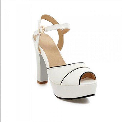 W&LM Signorina Tacchi alti sandali Greggio Bocca di pesce sandali Piattaforma impermeabile Bocca poco profonda sandali White