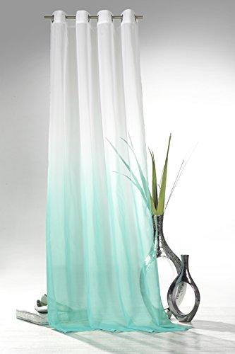 heimtexland ® Ösenschal mit Farbverlauf in türkis HxB 245x135 cm Voile transparent - ÖKOTEX geprüft - Gardine Vorhang Dekoschal Aqua Typ501