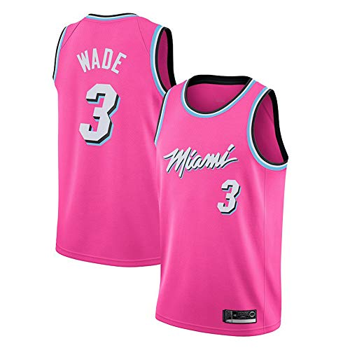 Herren Retro Basketball Uniform NBA Miami Heat 3# Wade Sommersport Trikot, Basketballhemd Klassisches Stickerei-Top