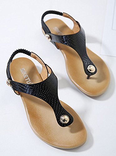 Aisun Femme Mode Clip Toe Talon Plat Sandales Noir
