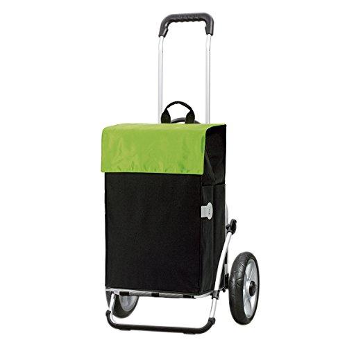 Andersen Chariot de courses Royal avec sacoche Hera verte, volume 44L, cadre aluminium et roues à roulement à billes