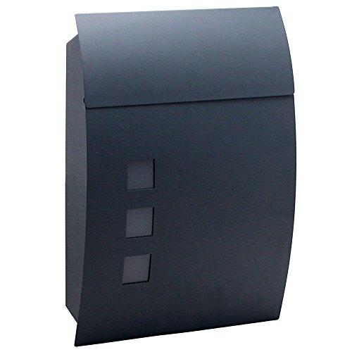 HENGMEI Edelstahl Briefkasten Anthrazit mit Zeitungsrolle Postkasten Wandbriefkasten Mailbox Groß Zeitungsfach Edelstahl pulverbeschichtet (Modell D)