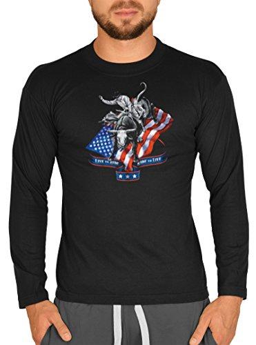 Usa Cowboy Bullrider Rodeo Motiv Longsleeve : Bullriding -- Herren Langarmshirt / schwarz Schwarz