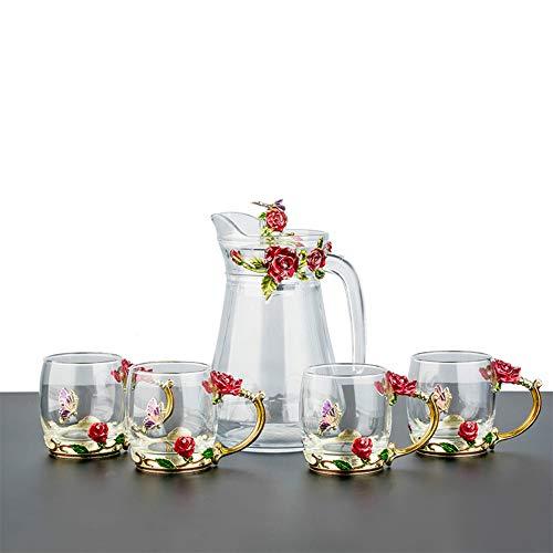 Ein Teeset 1 Kanne 4 Tassen modern zarte Blume Tasse Glas Kaffeetasse Valentinstag Geburtstag Weihnachten Geschenk für Frauen Deko Hochzeit Geschenk m rot (Trennt Anzug Frauen)