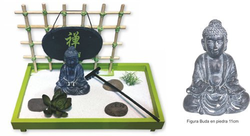 Madelcar - Budda Zen Garden with sand, stones, lotto flower, grass and rake by Dakota