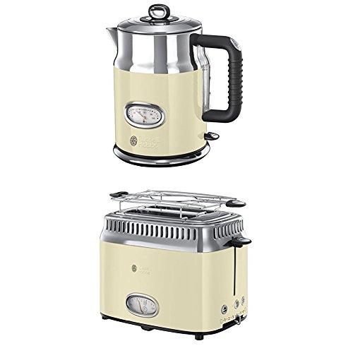 Russell Hobbs Retro Vintage Cream 21672-70 Wasserkocher, creme + Retro Vintage Cream 21682-56 Toaster (1300 W, mit stylischer Countdown-Anzeige, Schnell-Toast-Technologie) creme