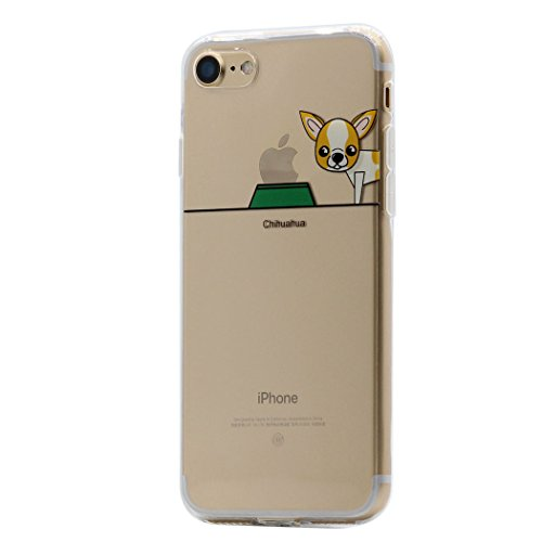 iPhone 8 Plus / 7 Plus Funda Carcasa , Keyihan Perro Lindo patrón Suave TPU Silicona Transparente Ultra Delgada y Ligéra Parachoques para Apple iPhone 8 Plus / 7 Plus (Chihuahua)