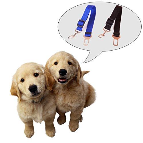 iMounTop Hundegurt Auto Hunde Hund Sicherheitsgurt Adapter Sicherheitsgeschirr Autosicherheitsgurt Anschnallgurt Einstellbar 16.5-27.5 inch 2 Stück ( Blau+ Schwarz) -
