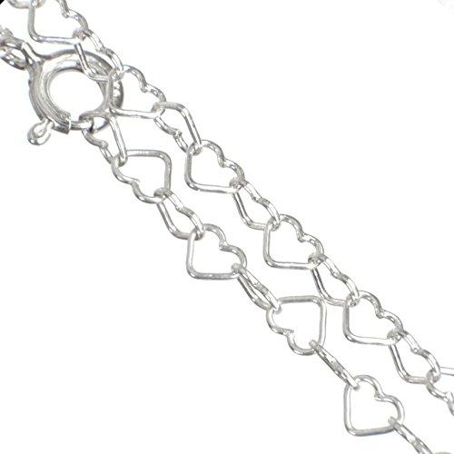Massive 925er-Sterling Silber HERZ- Halskette - 45 cm lang in Juwelierqualität #K459