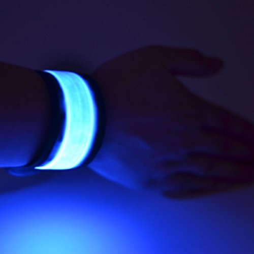 Namsan LED Slap Glow Armband,Sichtbarkeit Safety-Armband,Laufen/Jogging Light up-Armband, Slap Lit LED-Armband,High Visibility Outdoor Sports Light Up-Armband für Kinder$Frauen-Multi-Stück Option-Blau (Slap Wrap)