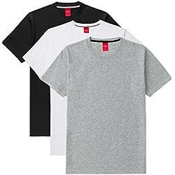 Scott International Men's Cotton Half Sleeve T-Shirts Black, White and Grey_Large (Pack of 3)