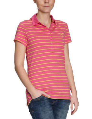 Puma Damen Polo Shirt Striped, Raspberry Rose-Lime Punch, XXL, 819180 07