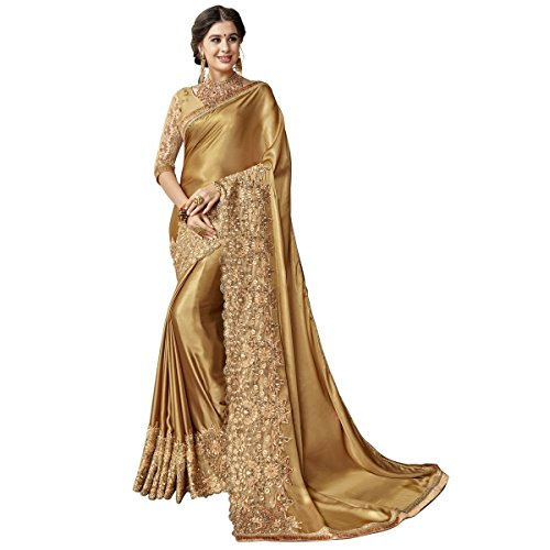 Magneitta Women's Georgette Artsilk Embroidered Traditional Saree with Blouse Piece (97104_Gold)