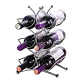 Portabottiglia vino (H34xW25xD14,5cm) - Contiene 6 bottiglie di vino di dimensioni standard - Porta vino in acciaio inox Super lucido - Portabottiglie da appoggio - Portabottiglie salvaspazio per vino