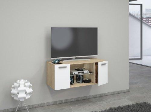 ... VCM TV Schrank Lowboard Tisch Board Fernseh Sideboard Wandschrank  Wohnwand Holz Sonoma Eiche/Weiß ...