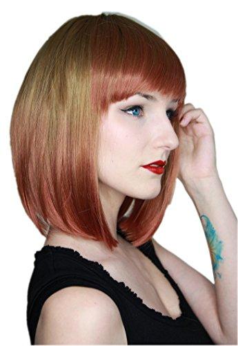 latt Kurze Perücke Gefärbt Batik Farbverlauf Bob-schnitt Blond Braun Rot C762 ()