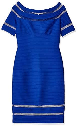 Pintuck Kleid (Tadashi Shoji Mädchen s/s Pintuck Dress Kleid, Marineblau, XL)